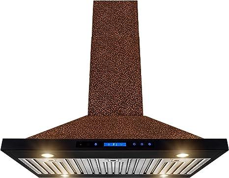AKDY Island Mount Range Hood - Ventilador de campana de cobre en relieve para cocina - Motor silencioso