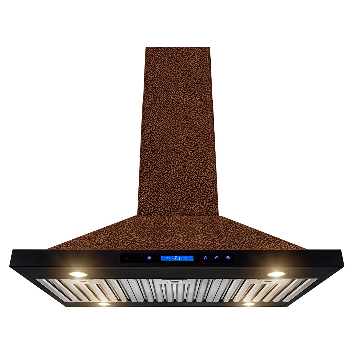 "AKDY Island Mount Range Hood –36"" Embossed Copper Hood Fan for Kitchen – 4-Speed Professional Quiet Motor – Touch Control Panel – Modern Design – Dishwasher-Safe Baffle Filters"