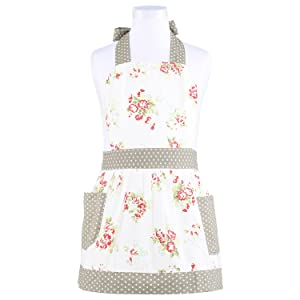 NEOVIVA Cooking Apron with Pockets for Toddler Girls, Stylish Kids Apron for Easy Bake Oven Accessories, Style Diana, Floral Nitong Roses