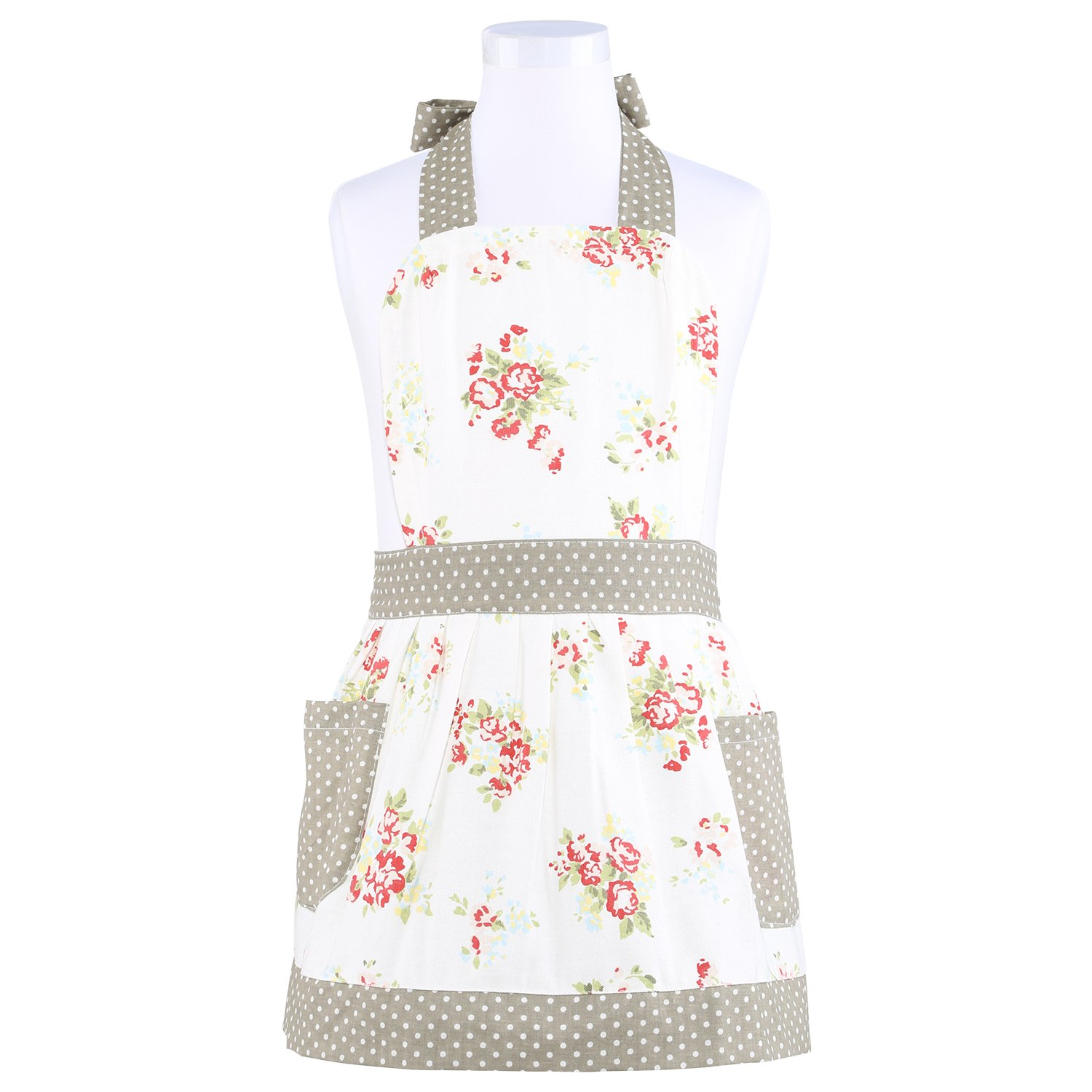Neoviva Cotton Canvas Garden Child Apron with Pockets, Style Diana, Floral Nitong Roses