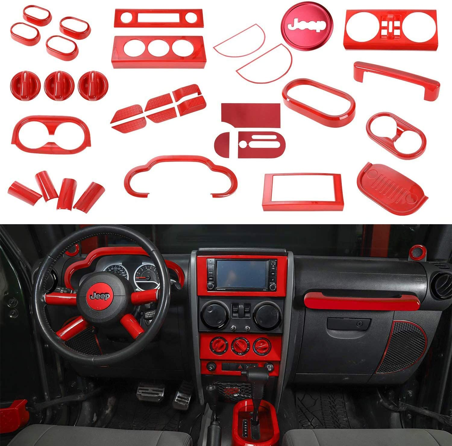 RT-TCZ Red Dashboard Control Console Trim Panel Cover Decor for Jeep Wrangler Accessories For 2007-2010 Jeep Wrangler JK