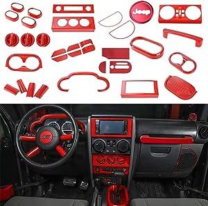 RT-TCZ Dashboard Panel Shift Knob Navigation Screen Steering Wheel Door Pocket ABS Trim Frame Bezel Cover for for Jeep Wrangler 2007-2010 JK JKU Red 37pcs