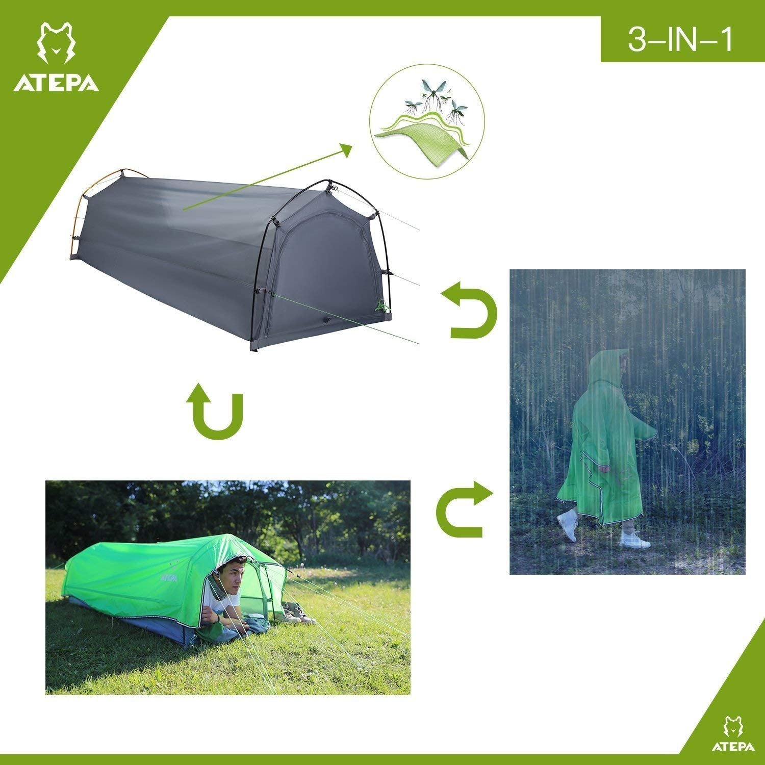 ATEPA One Person Waterproof Lightweight Tent 2.9lb ,3-in-1 Multipurpose 1 Person Bivy Tunnel Tent, Ultralight Single Expedition Military Poncho for Camping, Backpacking, Hiking, Outdoor, Green