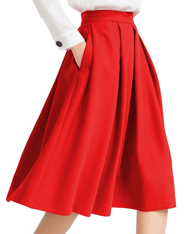 Women's Swing Skirts High Waist Flared Skirt Pleated Skirt Pocket Casual Skirt