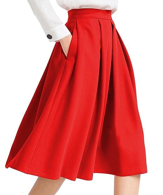 70bf3775c1 ShangMu Women's High Waist Flared Skirt Pleated Skirt with Pocket Versatile  Stretchy Casual Mini Skater Skirt