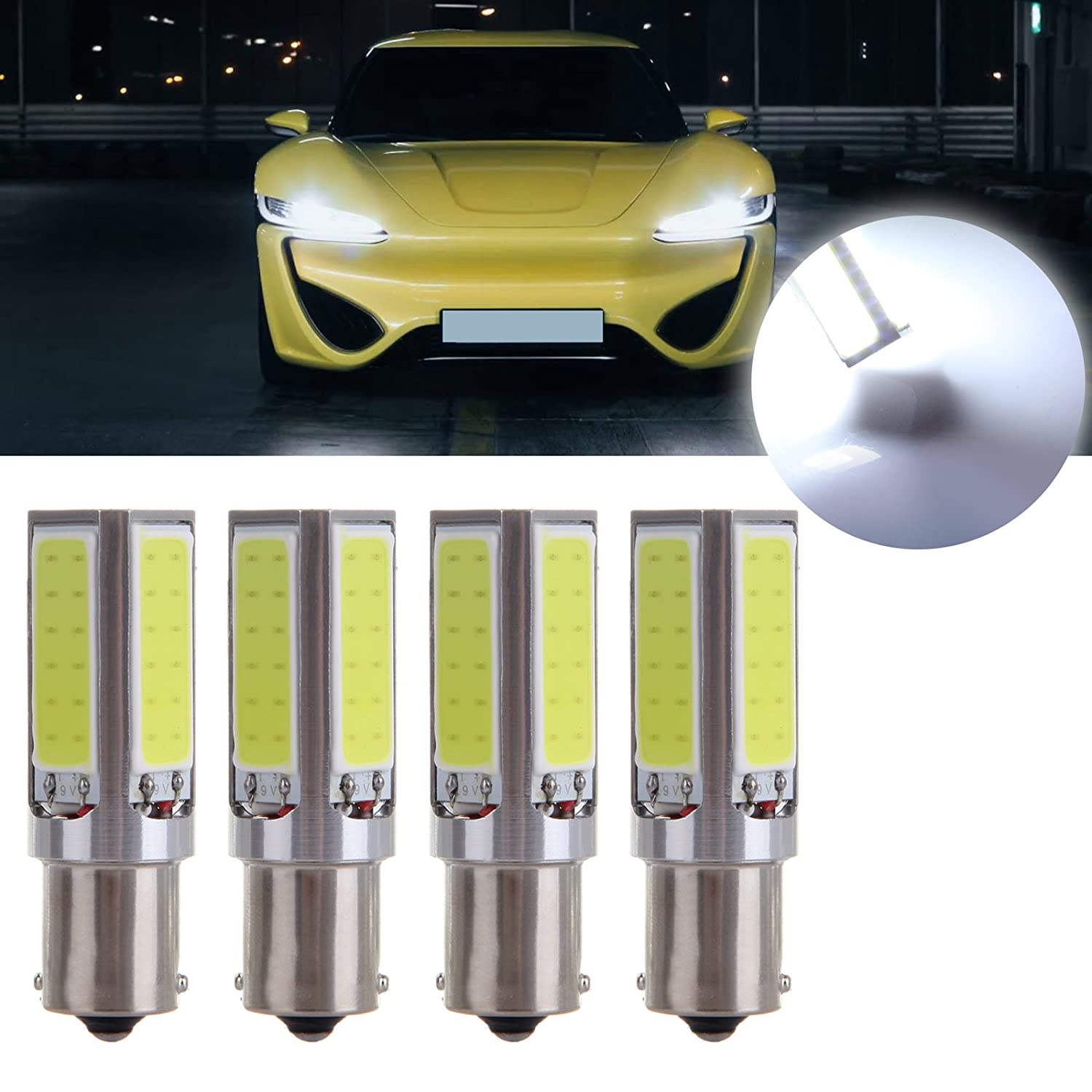 cciyu 1156 Super Bright 20W COB Chips LED Bulbs Replacement fit for Back Up Reverse Lights, 4Pack White 808333-5210-1126141