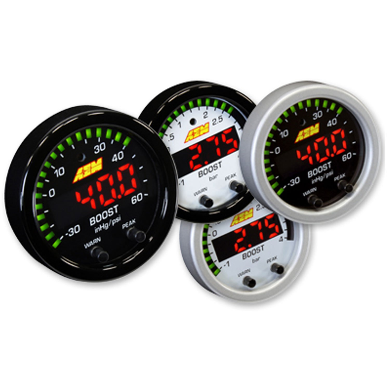 AEM 30-0308 X-SERIES HIGH 52MM LED BOOST PRESSURE GAUGE -30~60PSI / 4BAR BLACK