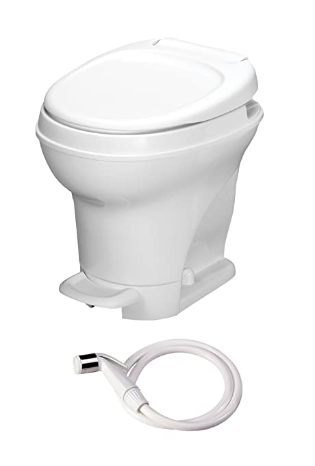 Aqua-Magic V RV Toilet Pedal Flush with Hand Sprayer / High Profile / White  - Thetford 31679