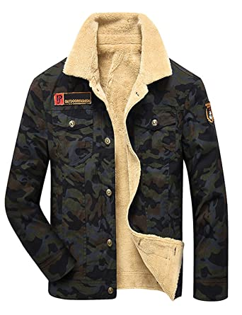 a6d942b4d Yeokou Men s Casual Camouflage Sherpa Lined Cotton Trucker Jacket at ...