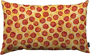 HOSNYE Pepperoni Pizza Throw Pillow Cover A Seamless Food Texture Linen Fabric for Couch Bed Sofa Car Waist Cushion Cover 12 x 20 inch Pillow Case