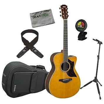 Yamaha ac3r VN una serie concierto tamaño Vintage Natural acústica guitarra eléctrica w/duro bolsa, gamuza, Lock-It correa, soporte de bloqueo, ...