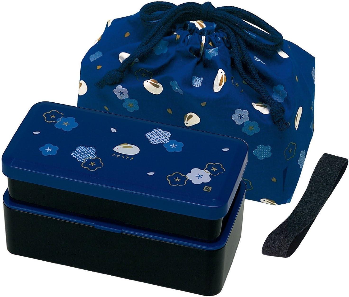 Japanese Traditional Rabbit Blossom Bento Box Set - Square 2 Tier Bento Box, Rice Ball Press, Bento Bag (Blue) by Skater: Amazon.es: Hogar