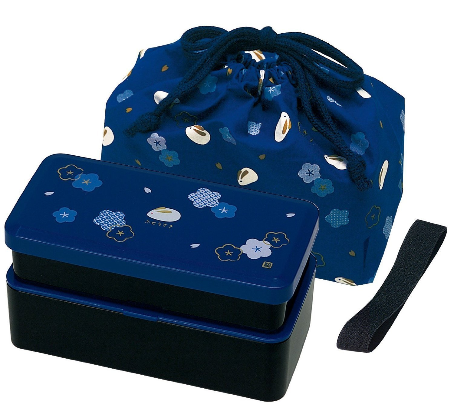 Japanese Traditional Rabbit Blossom Bento Box Set - Square 2 Tier Bento Box, Rice Ball Press, Bento Bag (Blue)