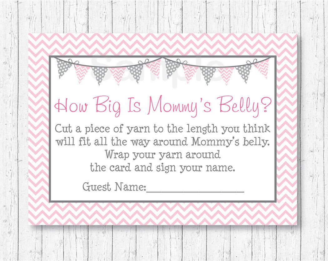 Amazon Modern Pink Chevron How Big Is Mommys Belly Baby Shower