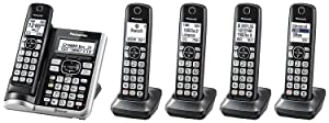 Panasonic KX-TGF575S Link2Cell BluetoothCordless Phone with Voice Assist and Answering Machine - 5 Handsets (Certified Refurbished)