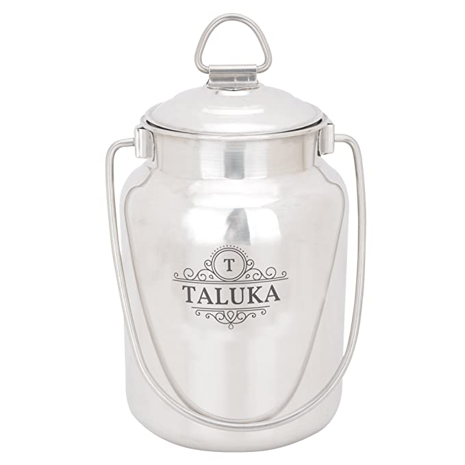 Taluka Stainless Steel Milk Can Capacity 2.5l Weight 570gm  Steel, 5.2 x 8.10 Inches approx   Kitchen Storage   Containers