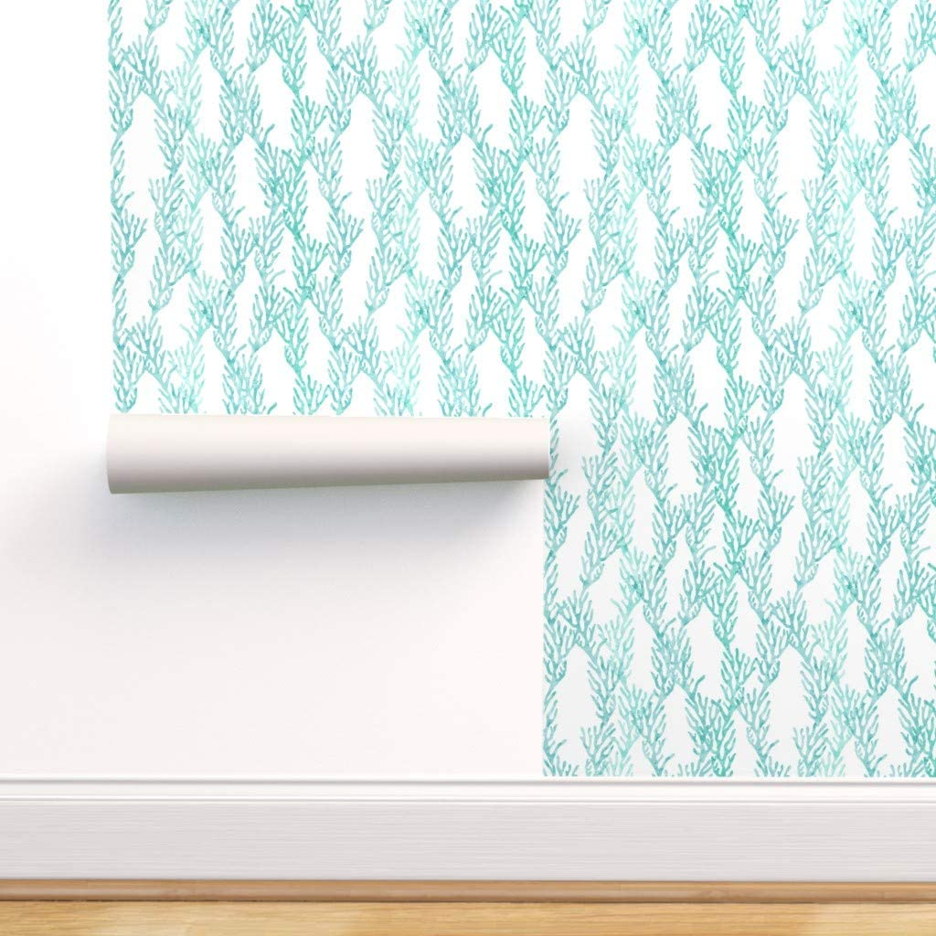 Peel-and-Stick Removable Wallpaper - Teal Coral Be super Manufacturer OFFicial shop welcome Aqua Merm Corals