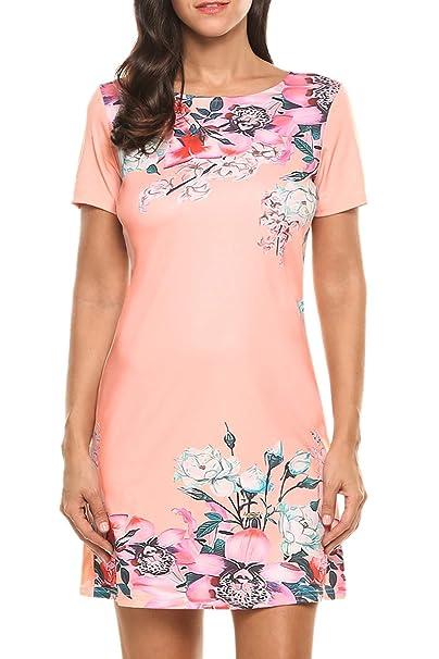 Meaneor - Vestido - para Mujer Rosa Rosa Pastel Small