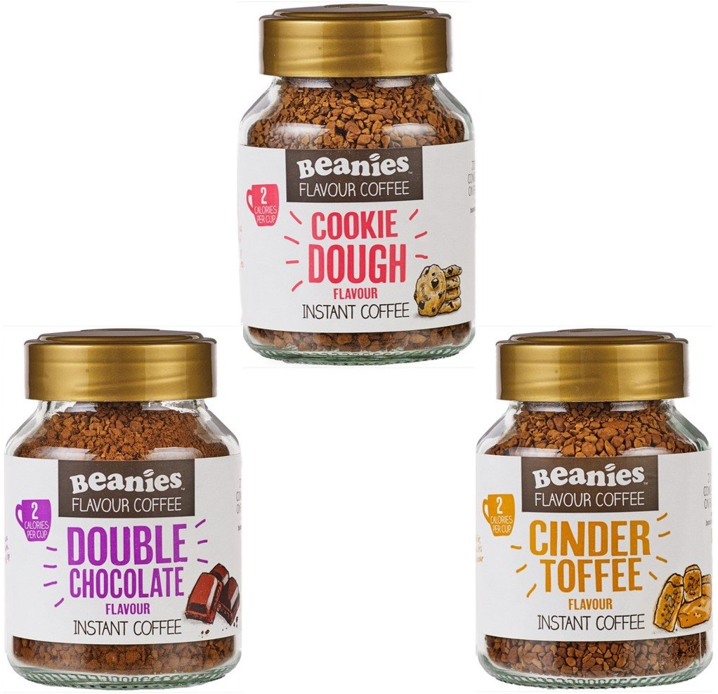Beanies Flavoured instant coffee jars 3x50g ; Cookie Dough, Cinder Toffee, Double chocolate