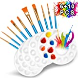 DOMMARE 10 Pcs Paint Brushes Set with 6 Pcs Paint Palettes Trays Plastic for Kids Acrylic DIY Craft Art Painting Round Pallets(16 Pack)