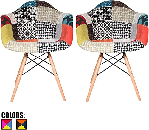 2xhome Set of 2 Multi-Color Modern Upholstered Molded Armchair Fabric Chair Patchwork Pattern Light Wood Wooden Legs Eiffel Dining Kitchen Living Room with Arms Mid Century