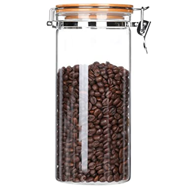 Clear Glass Tall Jar Container with Lid Glass Canister with Airtight Lid Kitchen Food Storage Jar Locking Clamp Bamboo Seal Lid Coffee Bean Container Pasta Spaghetti Flour Sugar Jar 54 FLoz