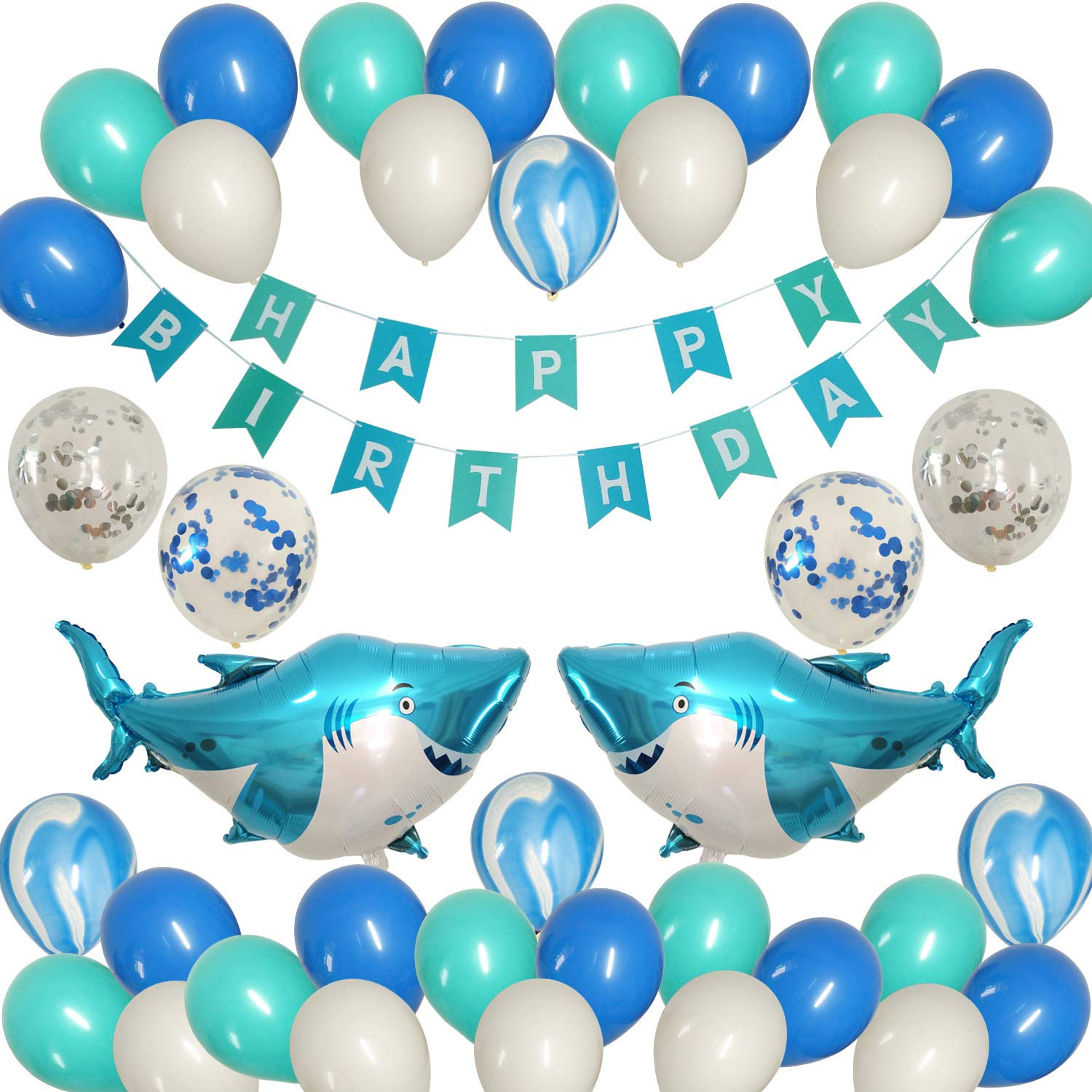 JAYKIDS Shark Balloons Ocean Theme Party Supplies - Sea Animals Tattoo Sticker, Big Shark Foil Balloons, Happy Birthday Banner, Ocean Color Confetti Marble and Latex Balloons, Baby Shower Birthday Party Decorations Set for Kids 1st 2nd 3rd 4-8 Years Old