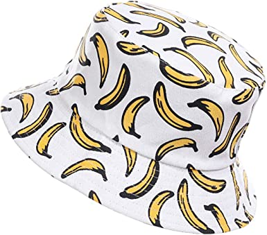 Oferta amazon: Jazmiu - Sombrero unisex, tipo pescador, de moda, estampado con dibujos de frutas, ideal para actividades al aire libre, reversible, se puede doblar para guardar