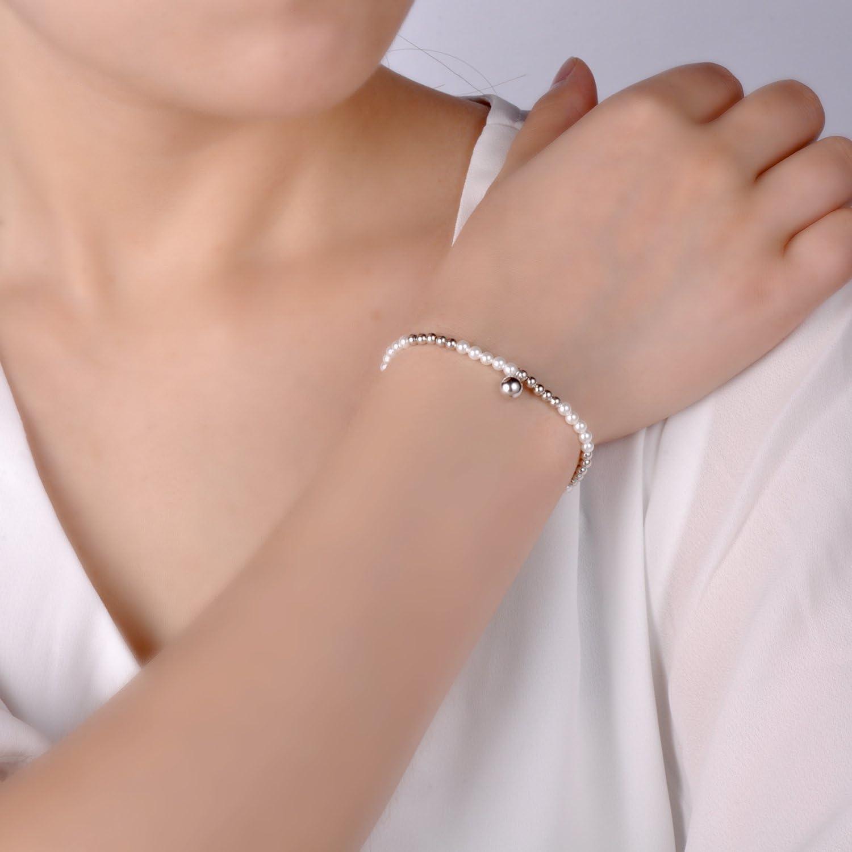 Infinite U Bracelet extensibles femme fille en argent 925 la cha/îne de perle cadeau danniversaire
