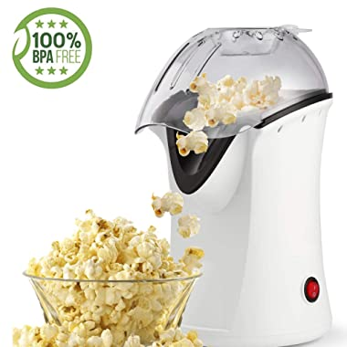 Popcorn Maker, Popcorn Machine, 1200W Hot Air Popcorn Popper Healthy Machine No Oil Needed (White1)