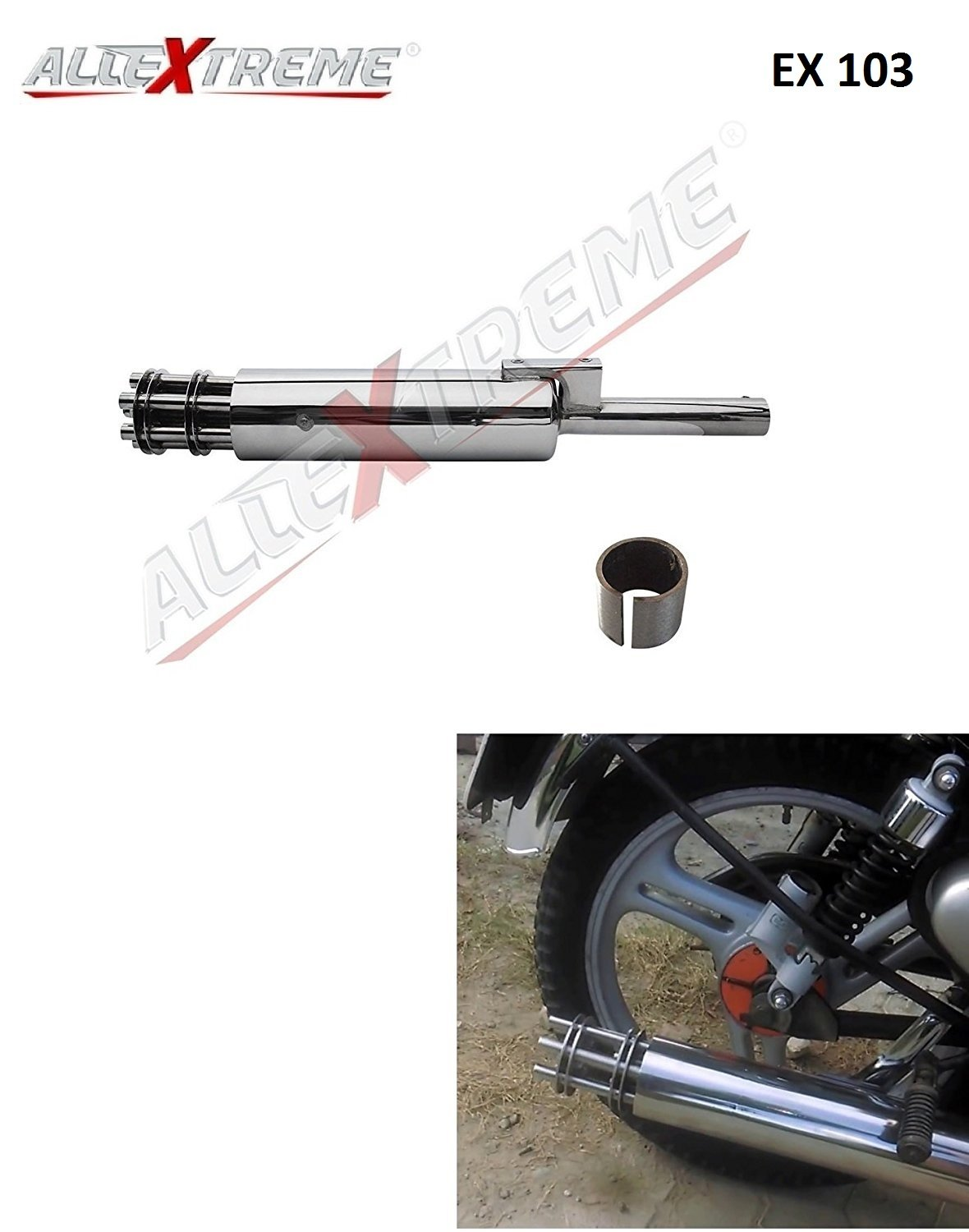 AllExtreme EX103 Tail Gunner Rotating Silencer Exhaust with ...