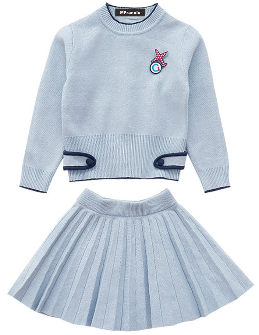 MFrannie Girls Autumn Knitted Sweater And Elastic Waist Pleat Skirt Set Blue 8-9T