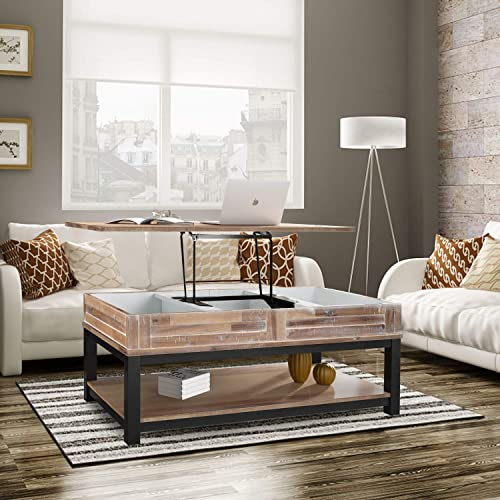 MTFY Adjustable Lift Top Coffee Table,Wood Modern Furniture Lift Top Storage Coffee Table w/Inner Hidden Storage Compartment and Lower Shelf