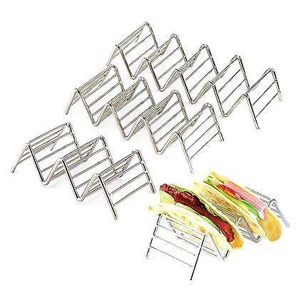Sipliv juego de 3 tacos de acero inoxidable soporte de taco soporte de burrito espacio para