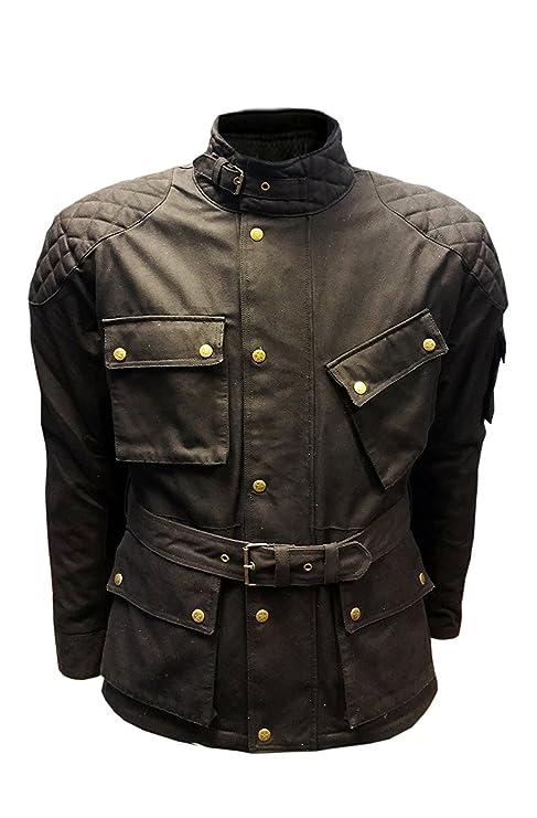 new product ad98f b4198 Giacca da motociclista da uomo in cotone cerato hi-tech, traspirante, stile  Belstaff XL nero