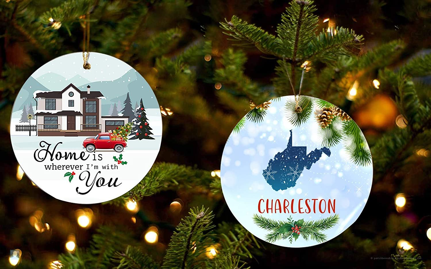 New Home Ornament 2019 1st Christmas - Home Is Wherever I'm With You Charleston West Virginia State - Christmas Gift Ideas For Wife, Husband - Set Of Two Ornaments 3