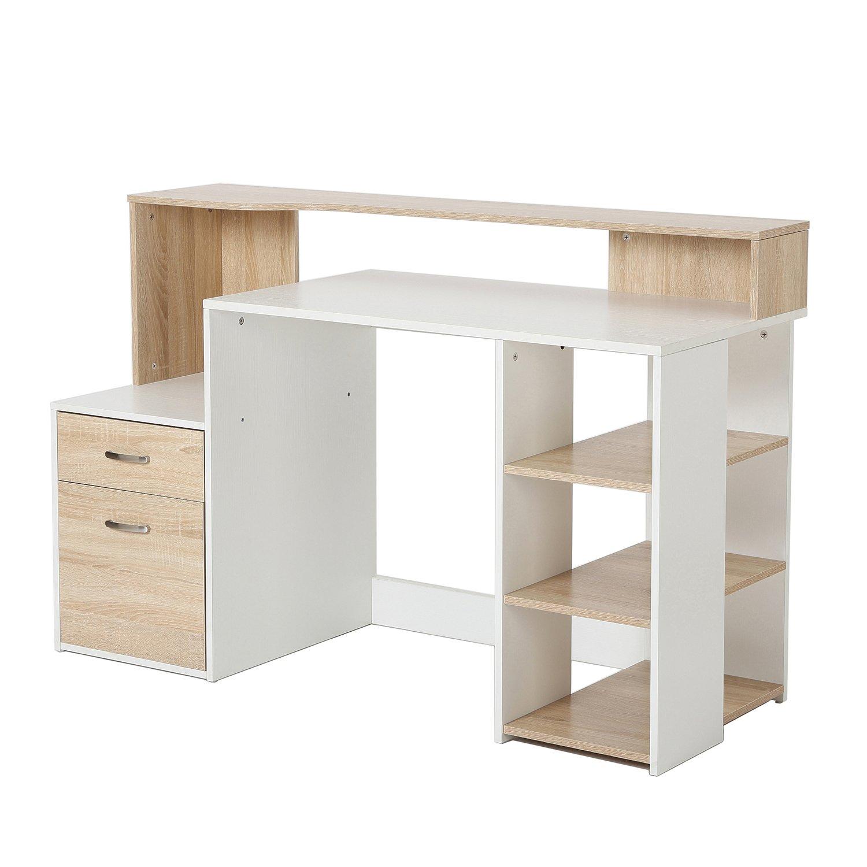 Amazon.com: HomCom 55\'\' Multi-Shelf Dorm and Home Office Computer ...
