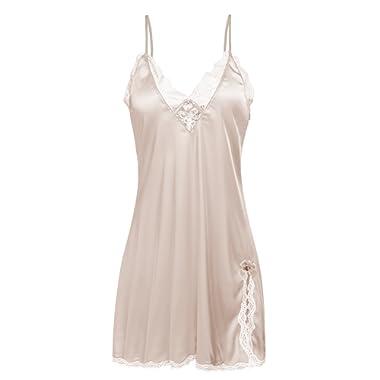 Ekouaer Sleepwear Women's Sexy Lingerie Satin Nightdress Lace Chemise Nightgown Silk Slips Loungewear XS-XXL