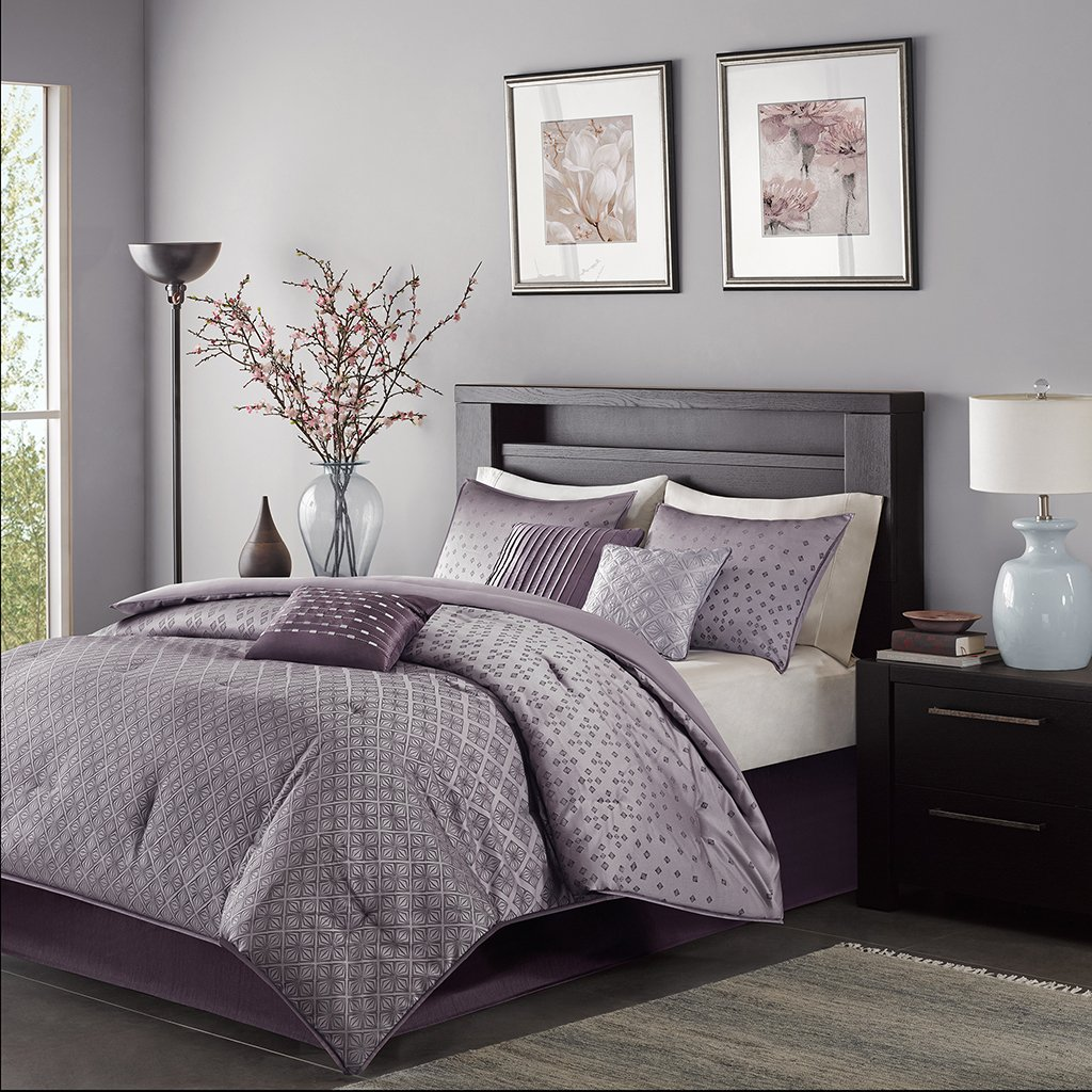 Madison Park MP10-919 Biloxi 7 Piece Comforter Set, Queen, Purple