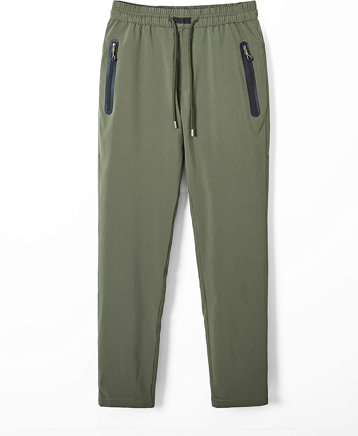 MAGCOMSEN Mens Quick Dry Running Jogger Pants with Zipper Pockets Open Bottom Sweatpants for Workout Hiking Gym