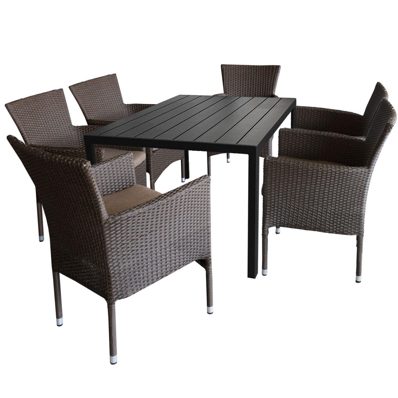 7tlg. Gartengarnitur Aluminium Gartentisch 150x90cm mit Polywood Tischplatte Schwarz stapelbare Polyrattan Gartensessel braun-meliert inkl. Sitzkissen