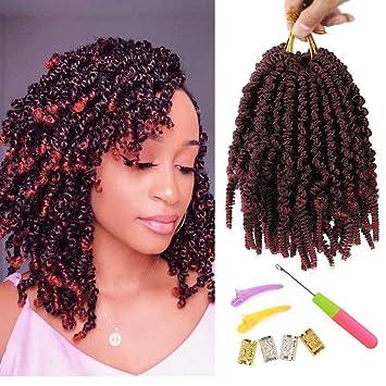 Amazon Com 6 Packs Pre Twisted Spring Twist Hair 8 Inch Pre Twisted Passion Twists Crochet Braids For Bob Spring Twists Short Curly Bomb Twist Braiding Hair Hair Extensions 8 6pcs T1b Bug Beauty