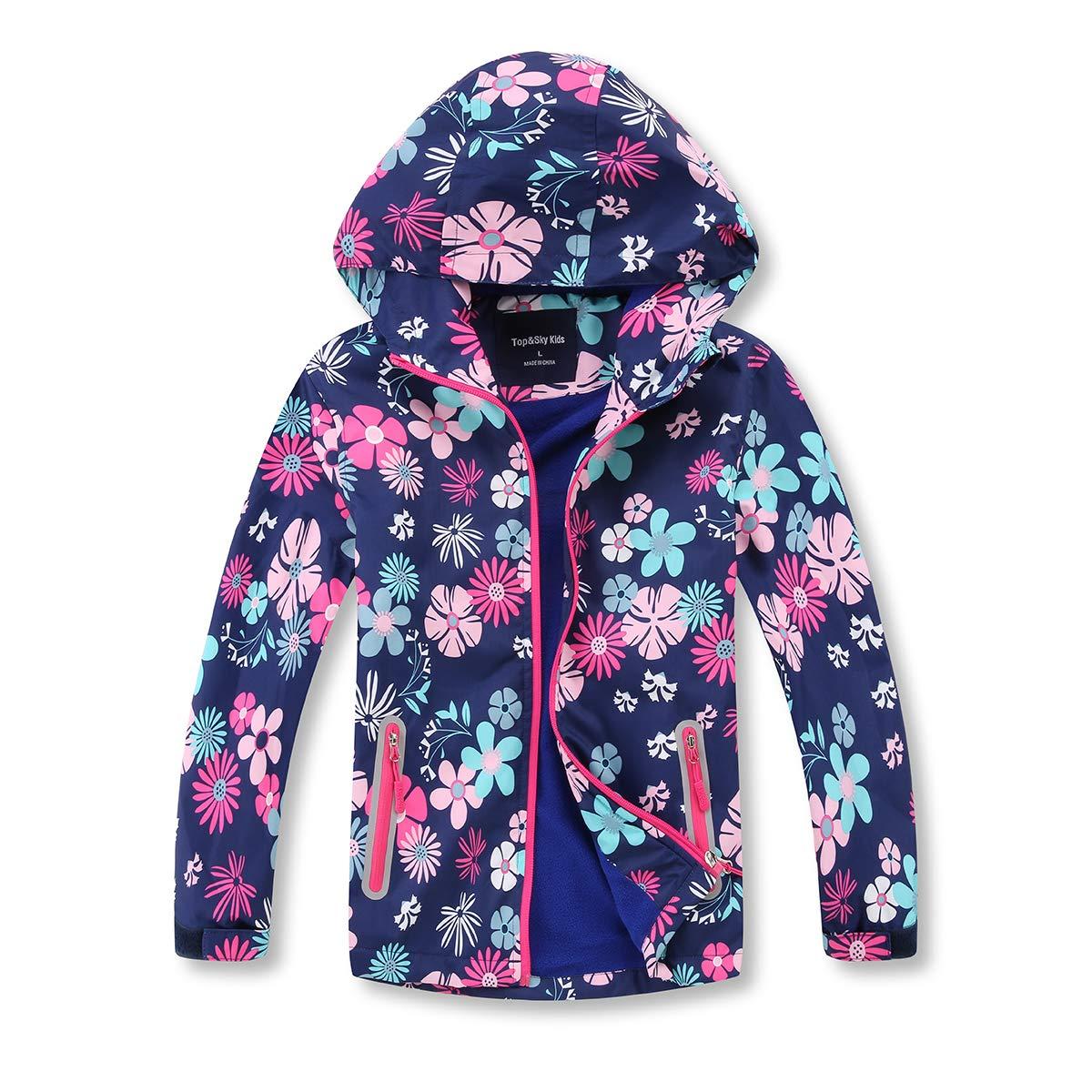 MGEOY Boys Girls Rain Jackets Lightweight Waterproof Hooded Raincoats Windbreakers for Kids