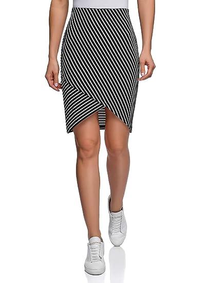 oodji Ultra Mujer Falda de Punto con Parte Inferior Asimétrica ...