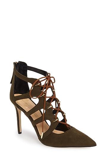 Daya by Zendaya Womens minnie Fabric Pointed Toe Ankle khaki mic Size 9.0