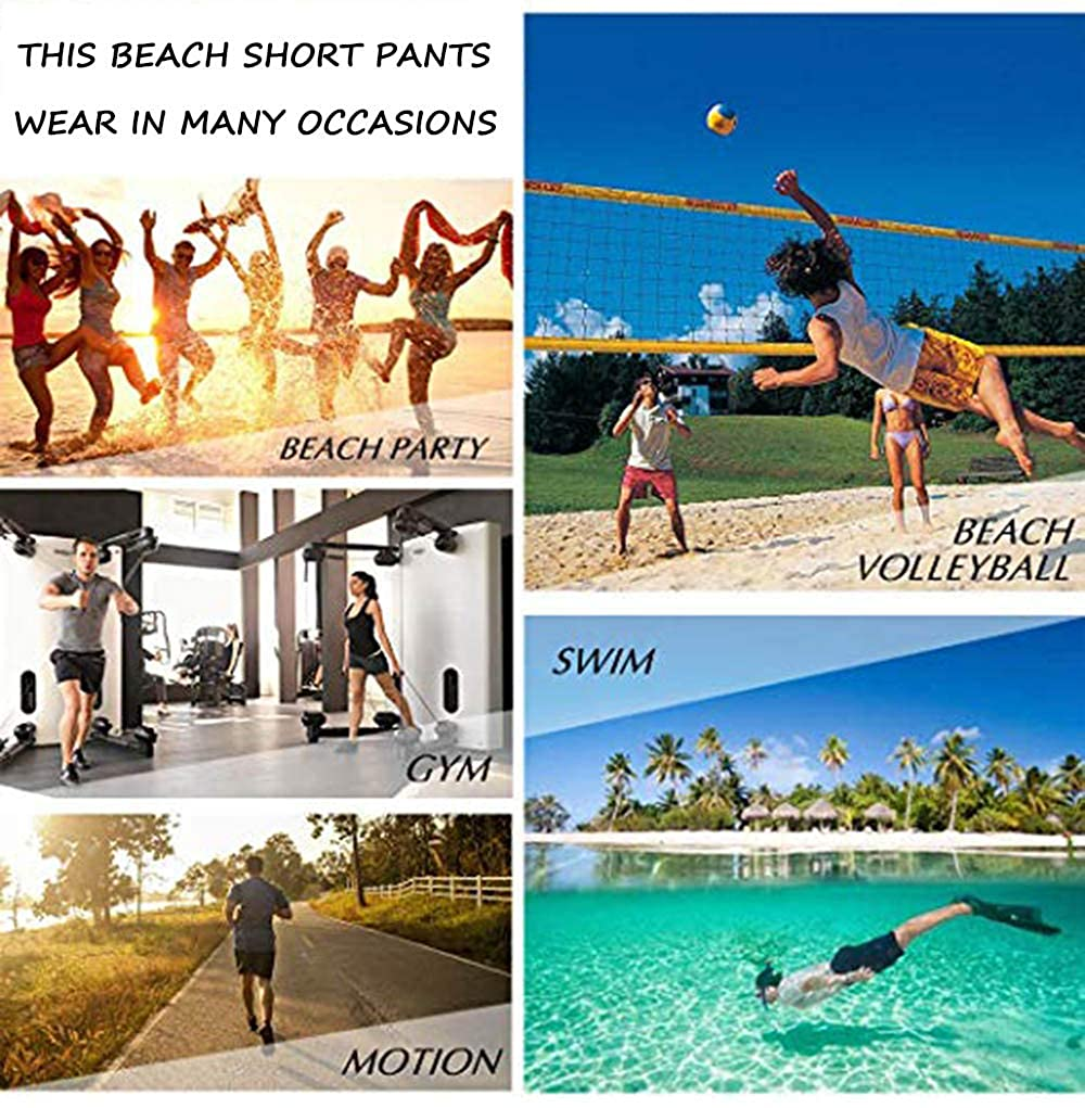 XUJ YOGA Men Surfing Trunks Fast Dry Summer Holiday Beach Shorts with Side Pocket