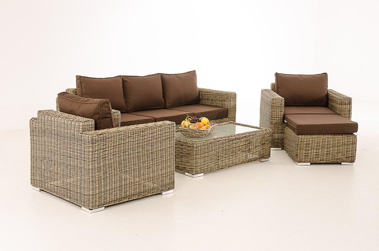 Mendler 3-1-1 Gartengarnitur CP053 Sitzgruppe Lounge-Garnitur Poly-Rattan ~ Kissen terrabraun, Natur