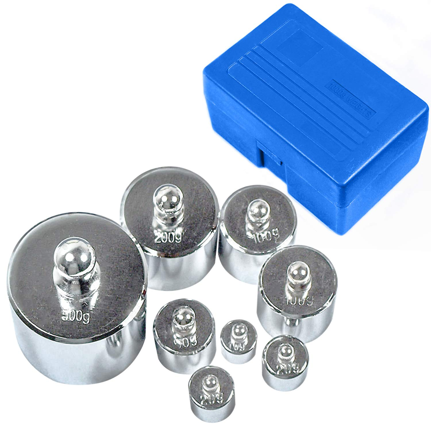 HFS (R) Scale Balance Calibration Weight Set - 10-1000g 8Pc Set With Case (8pcs : 10g,20g,20g,50g,100g,100g,200g,500g) 8pcs is 1000Gram total by HFS