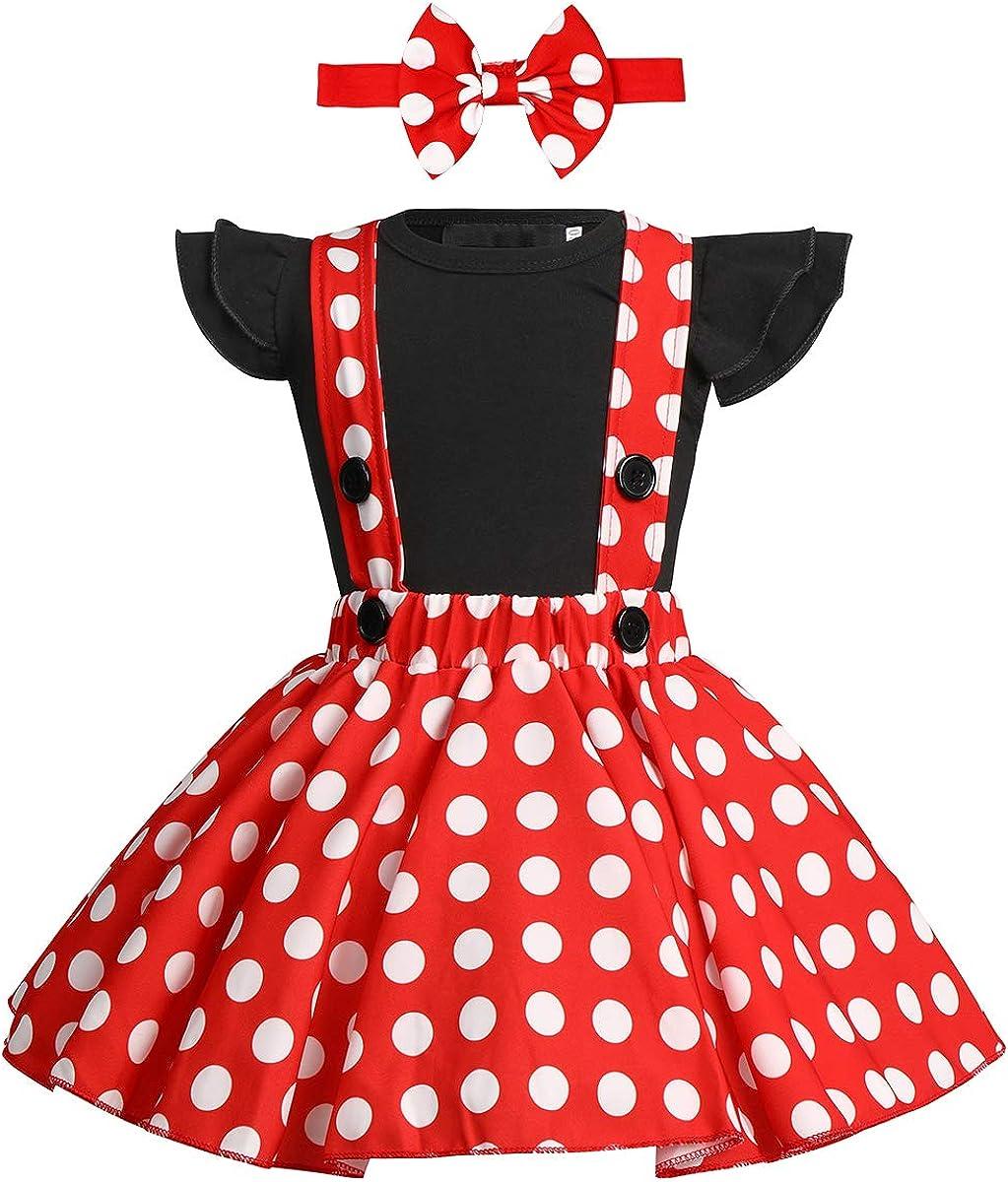 ODASDO Baby Girl Suspender Dress Set Ruffle Sleeve Romper + Polka Dots Overall Strap Tutu Skirt + Bowknot Headband