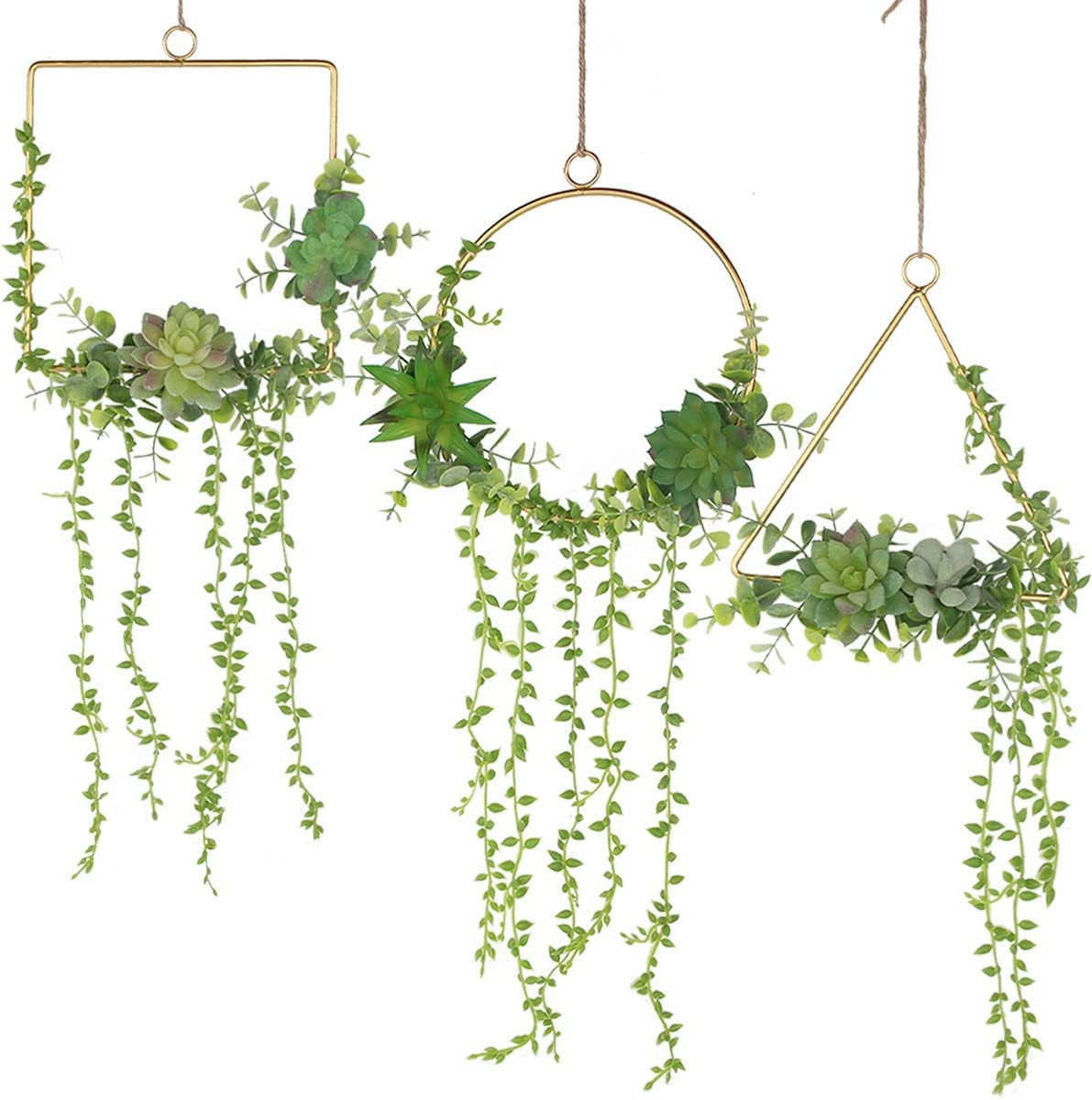 Z-YAO Floral Hoop Wreath Set of 3 Artificial Fake Succulent Plant Wall Decor Wreaths for Wall Hanging Succulents Decor Nursery Baby Shower Party Backdrop Decoration